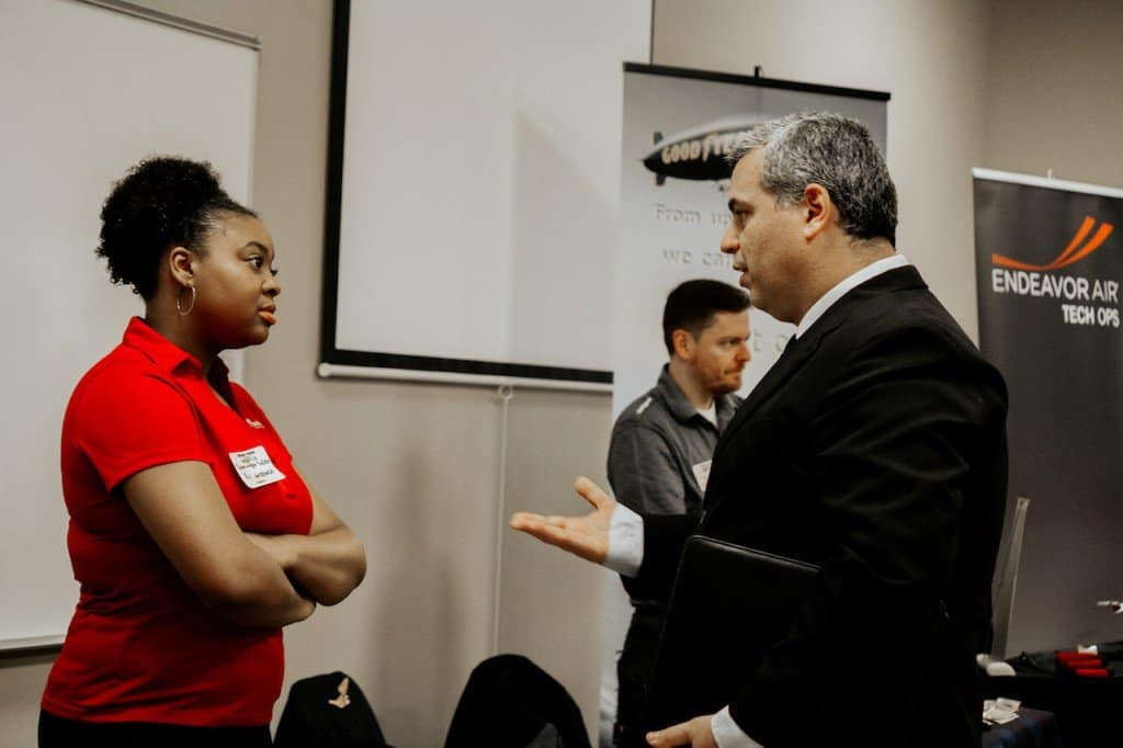 An NAA student meets with Air Wisconsin